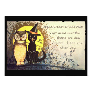 Cat and Owl Vintage Halloween Party Invitation