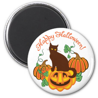 Cat and pumpkins 6 cm round magnet