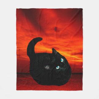 Cat and Red Sky Fleece Blanket