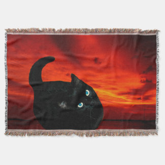 Cat and Red Sky Throw Blanket