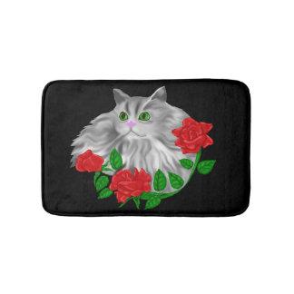 Cat and Roses Bath Mats