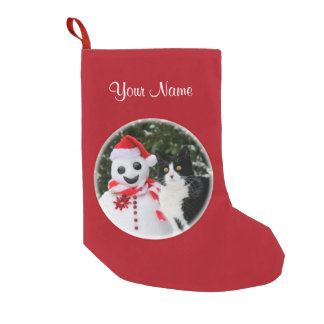 Cat and Santa Snowman Christmas Personalize mantle Small Christmas Stocking