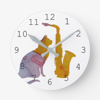 Cat and saxophone wall clock