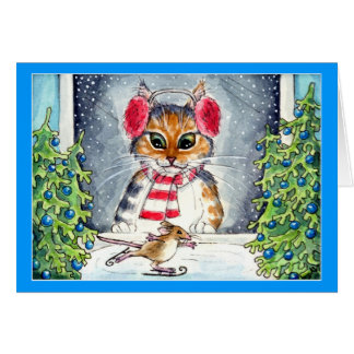 Cat and skating mouse holiday greeting card