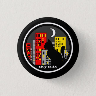Cat and skyline of nocturnal city 3 cm round badge