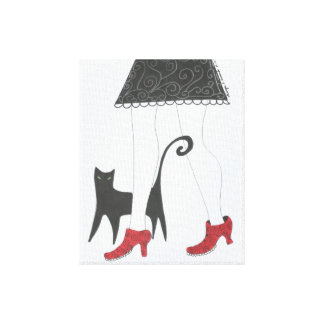 """Cat and Small network shoes girl"" ""with red shoes Stretched Canvas Prints"