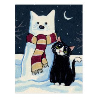 Cat and Snow Cat Festive Postcard