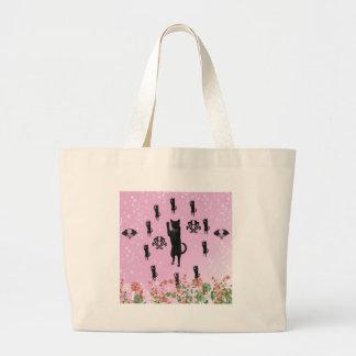 Cat and snow jumbo tote bag
