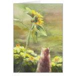 Cat and Sunflower Greeting Card