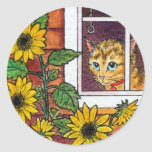 cat and sunflower round sticker