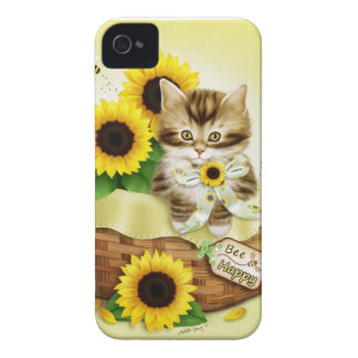 Cat and Sunflowers Bee Happy iPhone 4 Case