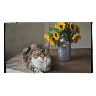 Cat and Sunflowers iPad Folio Case