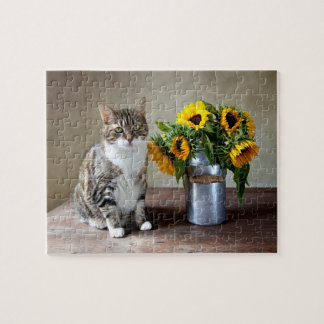 Cat and Sunflowers Jigsaw Puzzle