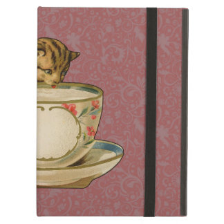 Cat and Teacup Vintage Victorian Case For iPad Air