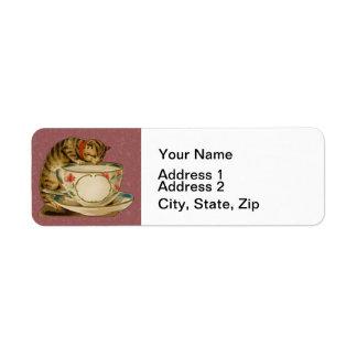 Cat and Teacup Vintage Victorian Return Address Label