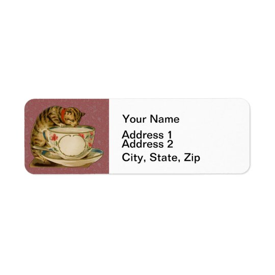 Cat and Teacup Vintage Victorian Return Address Label