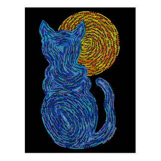Cat And The Moon Blue Art Postcard