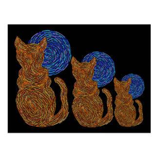 Cat And The Moon Orange Art Postcard