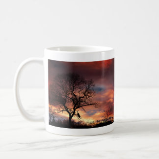 Cat and Tree Silhouette Against Sunset Sky Coffee Mug