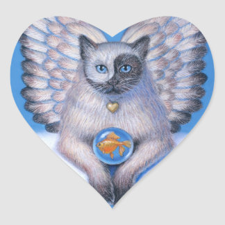"Cat Angel ""Kitty Yin Yang"" Heart Sticker"