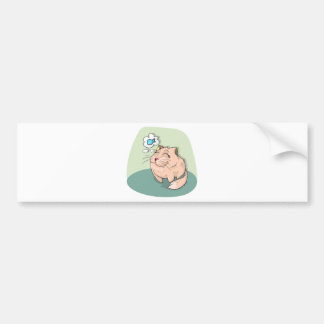 Cat animal fish thinking cute pet bumper sticker