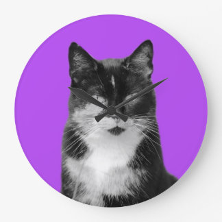 Cat animal pet puppy photo black and white large clock