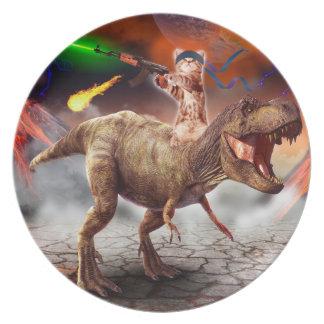 Cat armageddon - Dinosaur cat - bad cat - cat art Plate