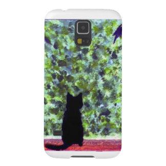 Cat Art Black Cat Bird Watching! Galaxy S5 Cases
