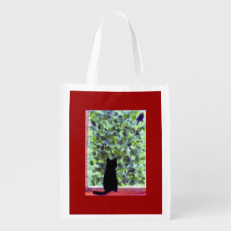 Cat Art Black Cat Bird Watching Reusable Grocery Bag