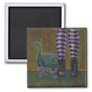Cat art boots striped socks fun goth rave painting refrigerator magnet