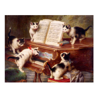 Cat Art: The Kitten's Recital Postcard