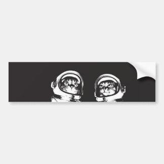cat astronaut - black and white cat - cat memes bumper sticker