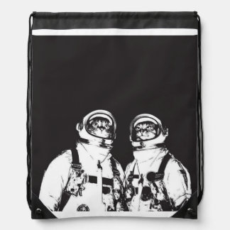 cat astronaut - black and white cat - cat memes drawstring bag