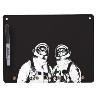 cat astronaut - black and white cat - cat memes dry erase board with key ring holder