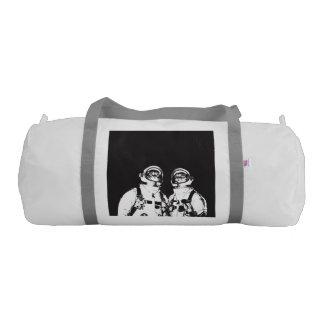 cat astronaut - black and white cat - cat memes gym duffel bag