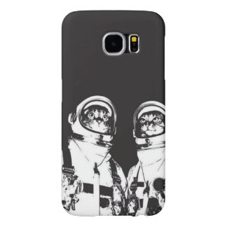 cat astronaut - black and white cat - cat memes samsung galaxy s6 cases