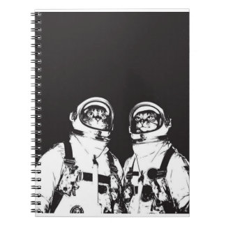 cat astronaut - black and white cat - cat memes spiral notebook