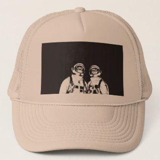 cat astronaut - black and white cat - cat memes trucker hat
