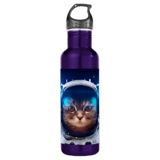 Cat astronaut - cats in space  - cat space 710 ml water bottle