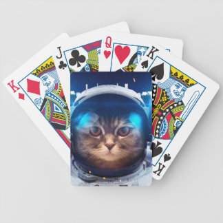Cat astronaut - cats in space  - cat space bicycle playing cards
