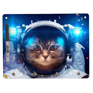 Cat astronaut - cats in space  - cat space dry erase board with key ring holder