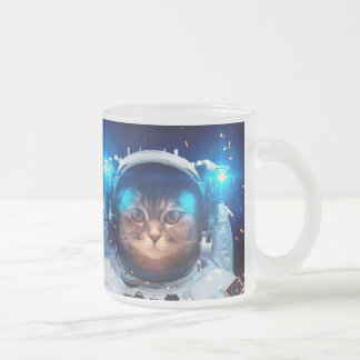 Cat astronaut - cats in space  - cat space frosted glass coffee mug