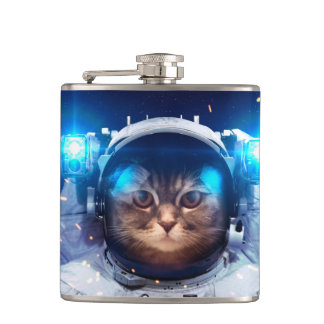 Cat astronaut - cats in space  - cat space hip flask