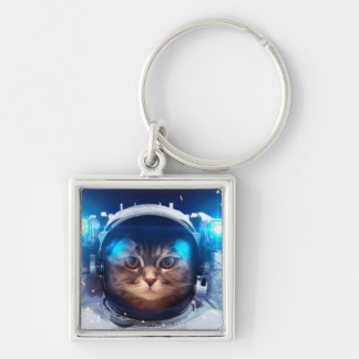 Cat astronaut - cats in space  - cat space key ring