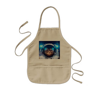 Cat astronaut - cats in space  - cat space kids apron