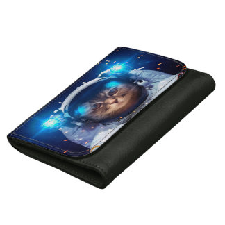 Cat astronaut - cats in space  - cat space leather wallet