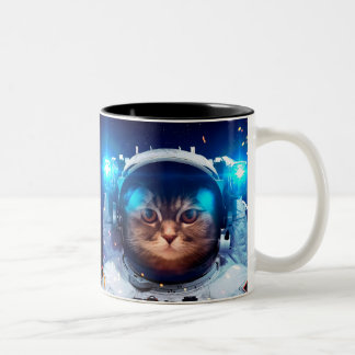 Cat astronaut - cats in space  - cat space Two-Tone coffee mug