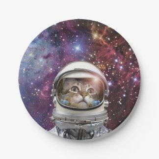 Cat astronaut - crazy cat - cat 7 inch paper plate