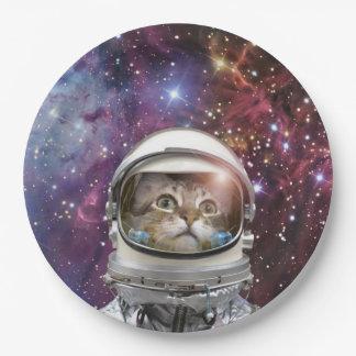 Cat astronaut - crazy cat - cat 9 inch paper plate
