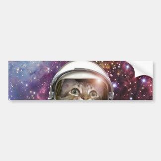 Cat astronaut - crazy cat - cat bumper sticker